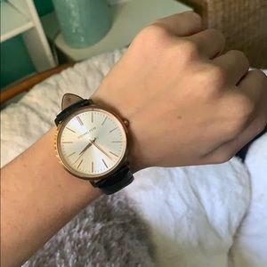 Michael Kors watch with black leather band